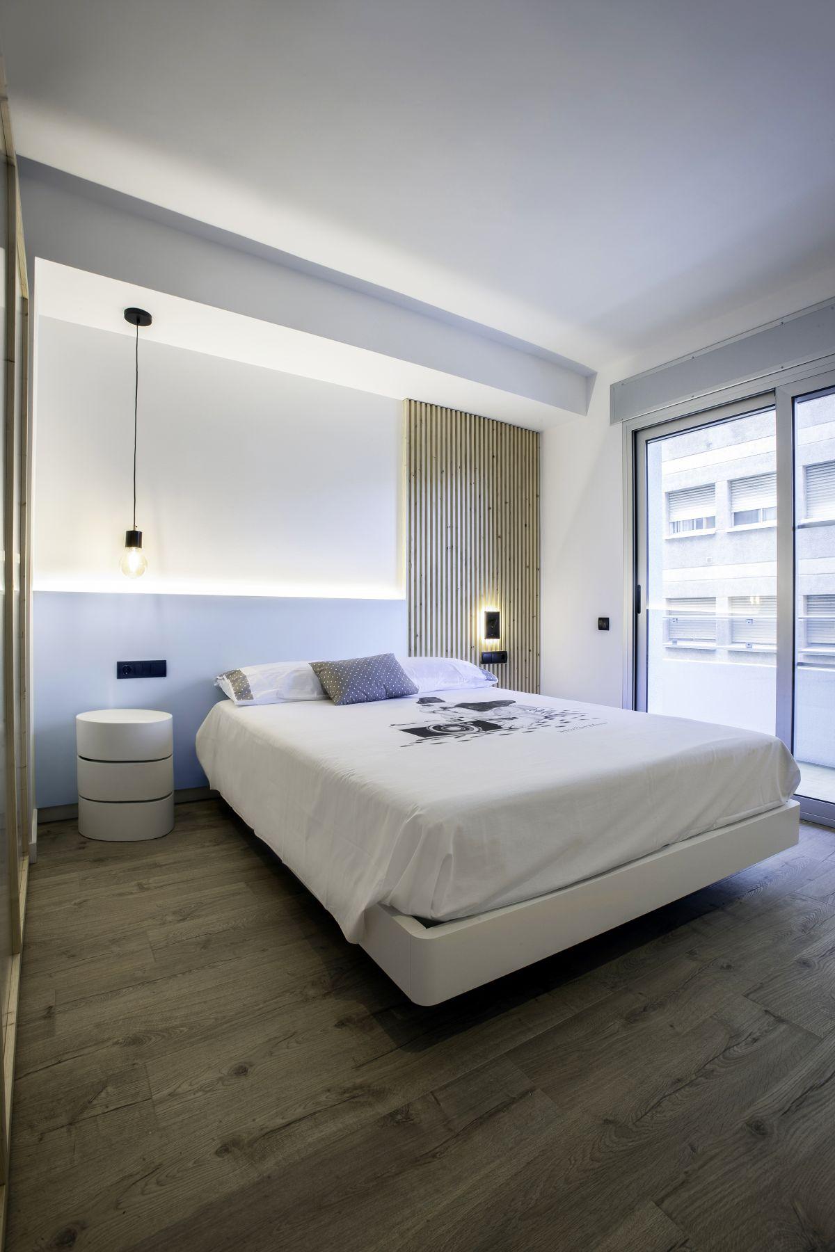 dormitori, a mida, moble, fusta, disseny, càlid, interiorisme, dissenyador, interiorista